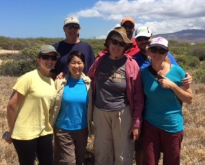 Some OSG folks out at a field site visit. Lindsay Young and Eric Vanderwerf with Pacific Rim Conservation; Christine Ogura and Beth Flint with U.S. Fish and Wildlife Service; Todd Russell with Kaneohe Marine Corp Base; David Hyrenbach with Hawaii Pacific University, and Michelle Hester with Oikonos.